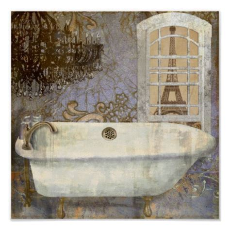 vintage clawfoot bathtub salle de bain poster zazzle