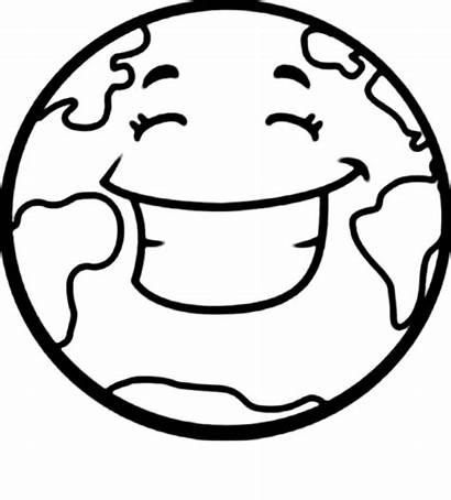 Earth Coloring Pages Happy Printable Cartoon Clipart