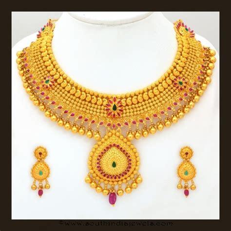 gold bridal attigai necklace set  vbj necklace