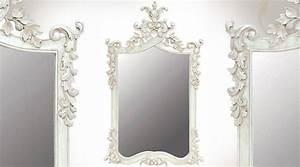 Miroir Blanc Baroque : grand miroir baroque blanc en acajou sculpt miroir mural 100 miroirs pinterest ~ Teatrodelosmanantiales.com Idées de Décoration