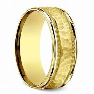 hammered milgrain men39s wedding ring in yellow gold With hammered wedding rings