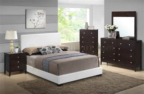 8103 5pc bedroom set by global w white upholstered bed