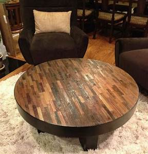 Reclaimed wood coffee table soft modern cocktail for Large round rustic coffee table