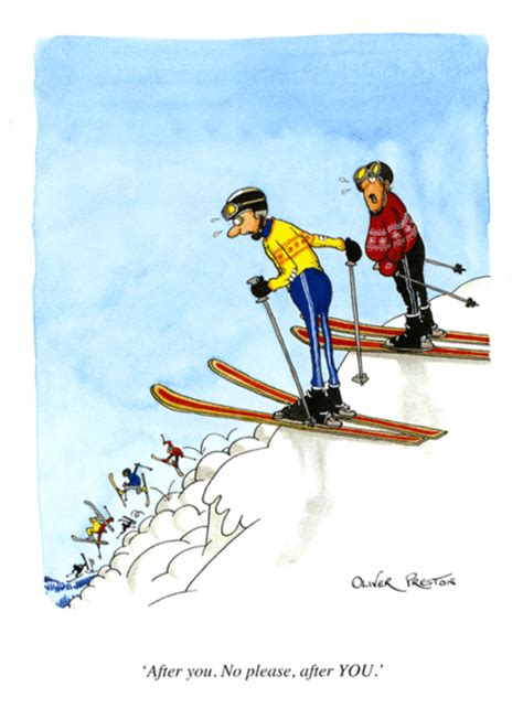 funny skiiing card   oliver preston comedy
