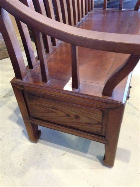 wooden settee bench solid wood asian settee or bench at 1stdibs