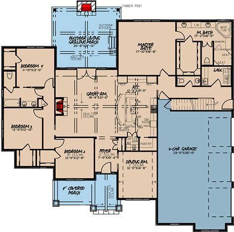 plan mk  bed house plan  vaulted great room  bonus  garage house plans