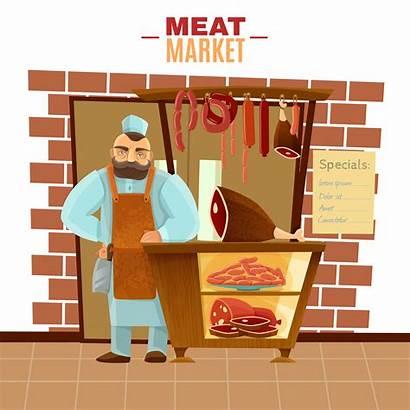 Butcher Cartoon Meat Market Illustration Vector Beef