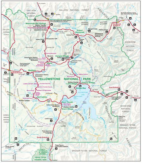 yellowstone national park map  northernmost road runs
