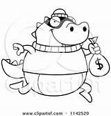 Bank Lizard Cartoon Coloring Robbing Clipart Money Outlined Vector Cory Thoman Royalty Regarding Notes sketch template