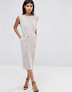 asos asos belted midi dress with split cap sleeve and With robe blanche asos