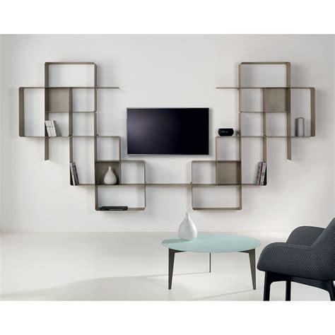 Mensole Design A Muro Libreria A Parete Moderna In Metallo Componibile Design