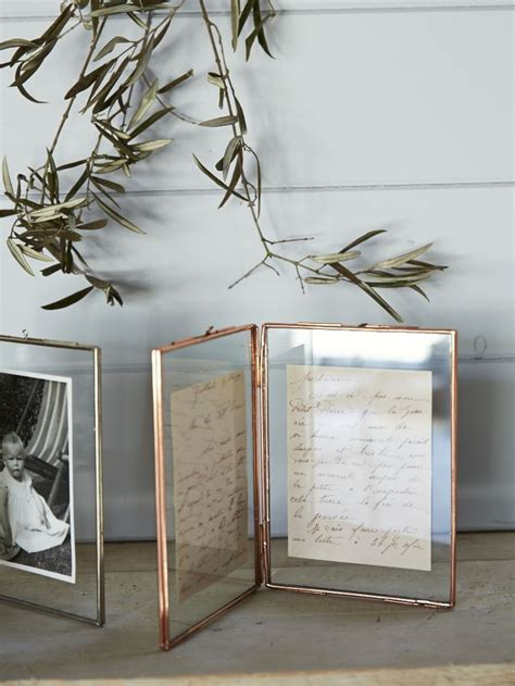 hinged glass photo frame  delicate copper frame