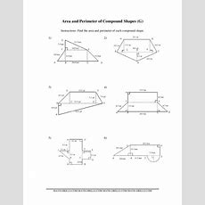 Area And Perimeter Of Compound Shapes Worksheet For 7th  9th Grade  Lesson Planet