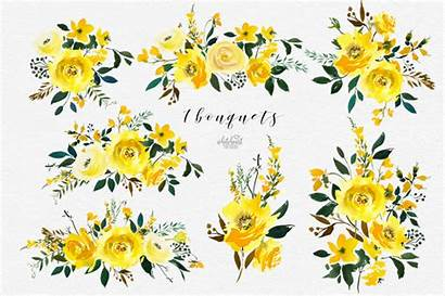 Yellow Watercolor Flowers Clip Majestic Jaune Clipart