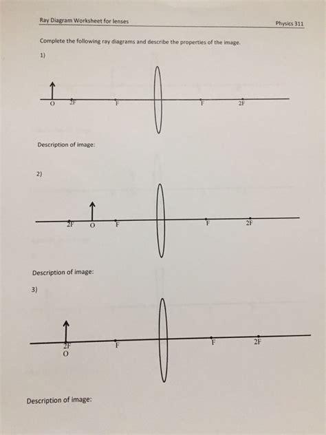 solved diagram worksheet for lenses physics 311 compl