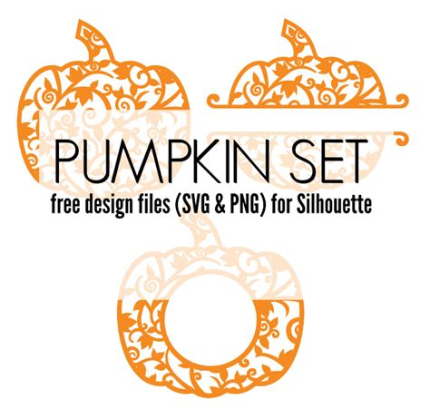Once you have customized your monogram design you can download it as a png image file. Free Pumpkin Set of Silhouette Design Files | Silhouette ...