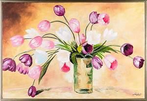 Blumen Gemälde In öl : floral oil painting tulip flowers in vase framed still ~ A.2002-acura-tl-radio.info Haus und Dekorationen