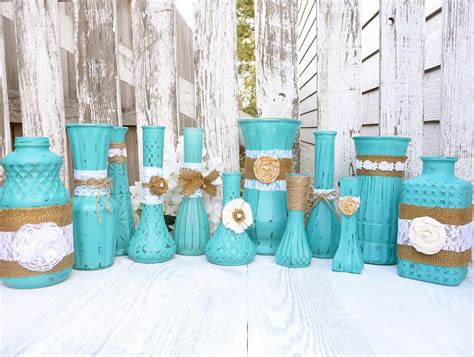 shabby chic turquoise turquoise rustic shabby chic vases with burlap by sofrickincute
