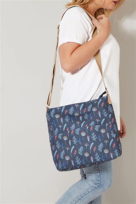 Navy Leaf Print Coated Shoulder Bag