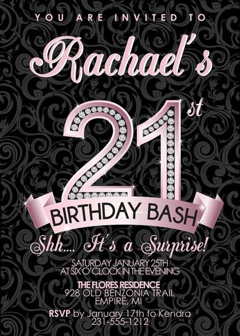 21st Birthday Invitation Adult Birthday Party Invitation
