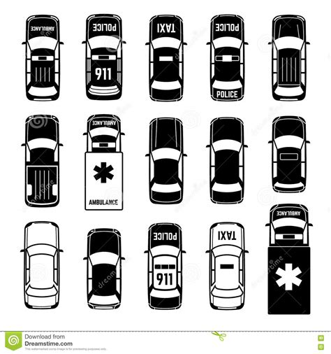 Car Top View Vector Set. Cartoon Vector