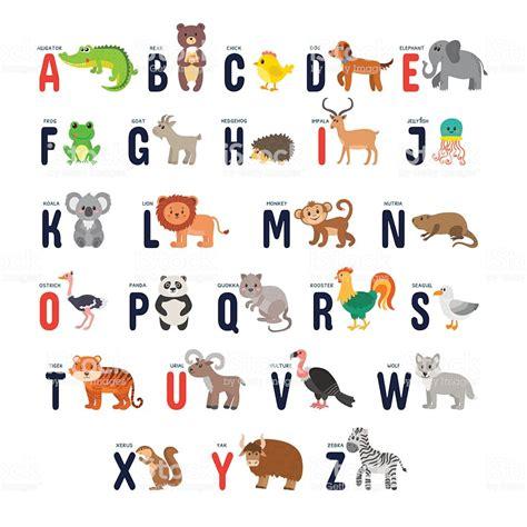 zoo alphabet  cute cartoon animals stock vector art