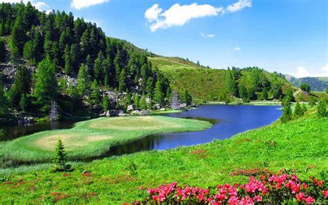 spring landscape slope sky nature river  hd