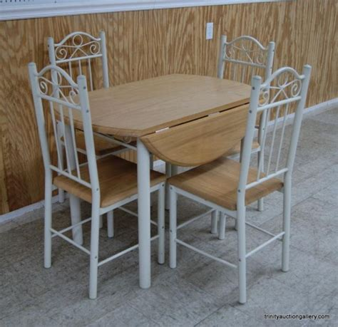 metal oak drop leaf dining table chair set