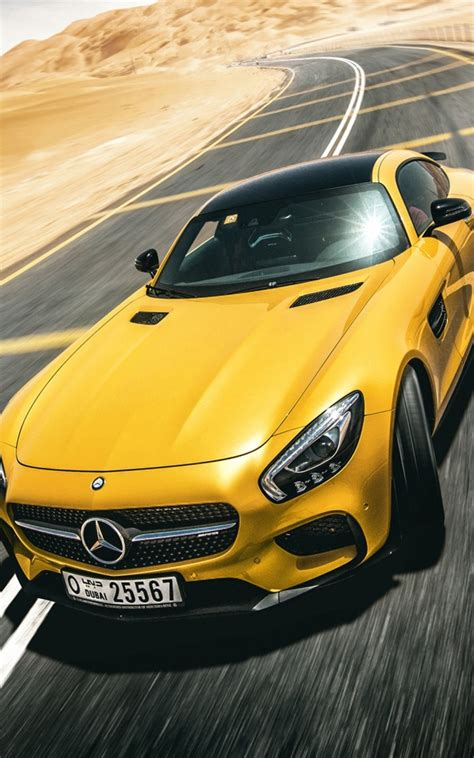 yellow mercedes benz amg gt    hd mobile