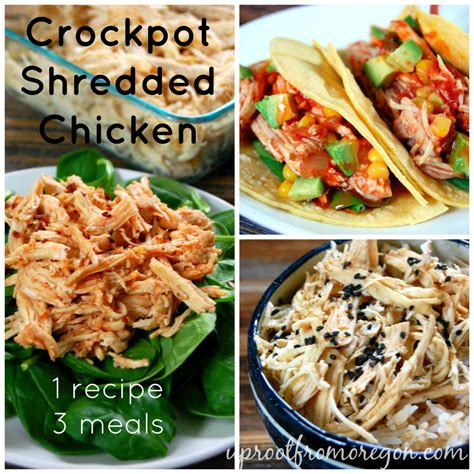 It's great for picky eaters, but it's also super flavorful and healthy. Slow Cooker Shredded Chicken - 1 Recipe 3 Meals