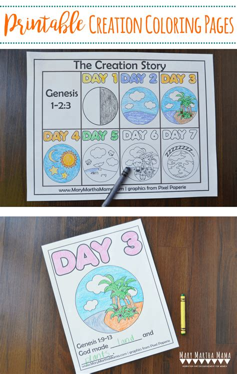 creation coloring pages  kids learn  story mary martha mama