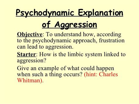 Psychodynamic Explanation Of Aggression