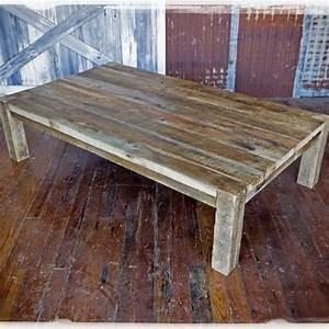 Custom solid barn wood coffee table by heirloom llc for Barn board coffee table