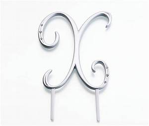 silver rhinestone monogram large letter x With large silver letters