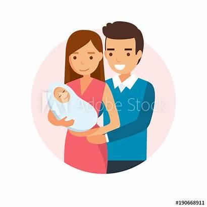 Parents Holding Happy Couple Born Circle Dibujos