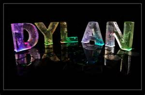The Name Dylan in 3D coloured lights