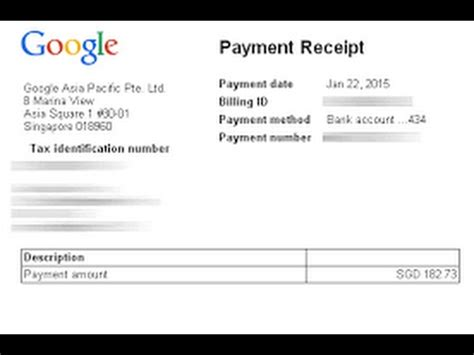 payment receipt  google adsense  youtube