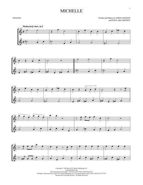 Songs by the band queen including another one bites the dust, bohemian rhapsody, crazy little thing called love, and more. Michelle (Violin Duet) - Print Sheet Music Now
