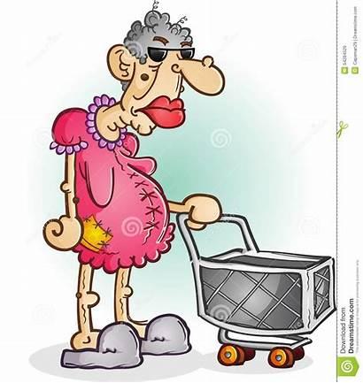 Lady Cartoon Grumpy Clipart Character Woman Shopping