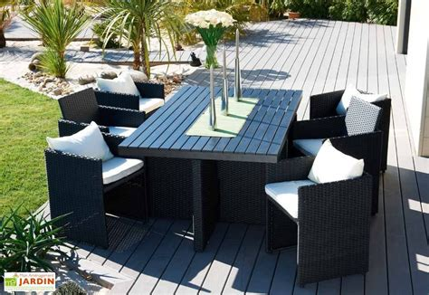 Salon de Jardin Composite Encastrable 7 Piu00e8ces - Ensemble encastrable 6 places plateau compo ...