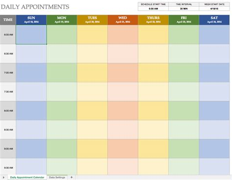 appointment schedule template free excel calendar templates