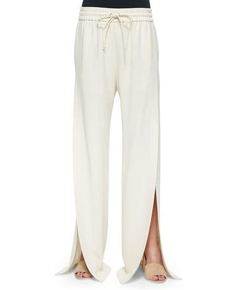 slit wide leg t by wang side slit wide leg suit in white