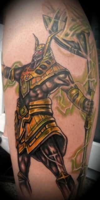 egyptian anubis sleeve tattoos
