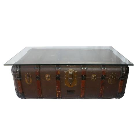 Antique Steamer Trunk Coffee Tableside Table, Circa 1900