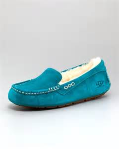 ugg shearling slippers sale ugg ansley shearling moccasin slipper in blue emerald lyst