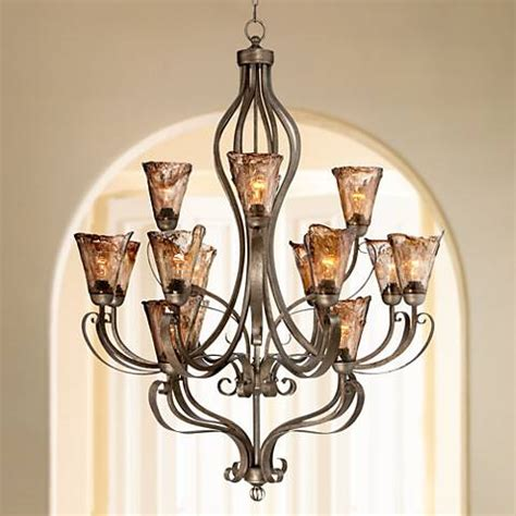 wide chandelier organic scroll 38 quot wide 16 light bronze chandelier