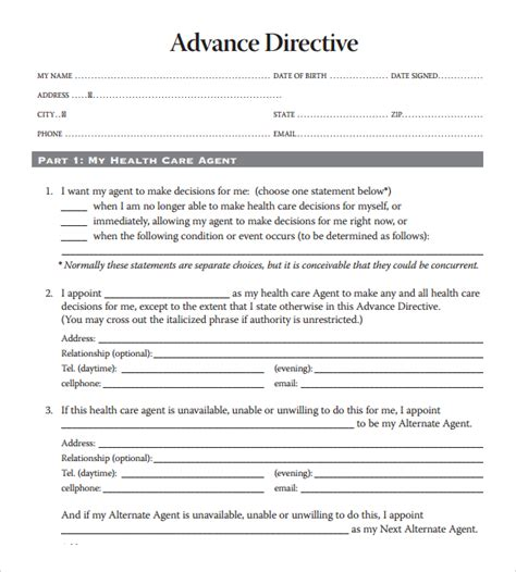Advanced Directive Template by 10 Advance Directive Forms Sles Exles Format