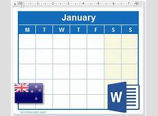 2018 Calendar with NZ Holidays MS Word Download