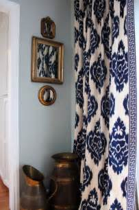 love the curtains navy blue and white ikat pattern with greek key border curtains