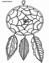 Feather Coloring Doodle Alley Dreamcatcher Busy sketch template